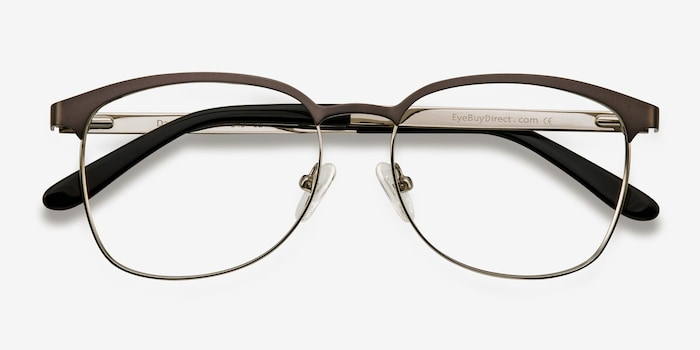 Dancer Gunmetal/Silver Metal Eyeglass Frames from EyeBuyDirect, Closed View