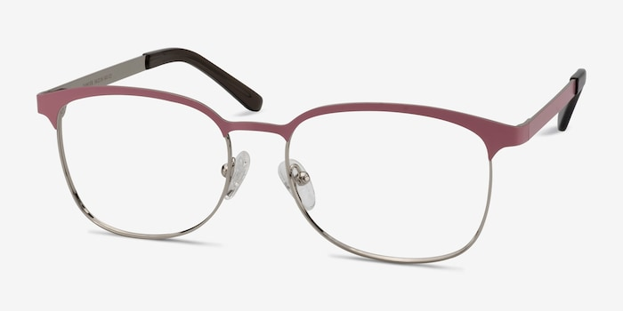 Dancer Pink/Silver Metal Eyeglass Frames from EyeBuyDirect, Angle View