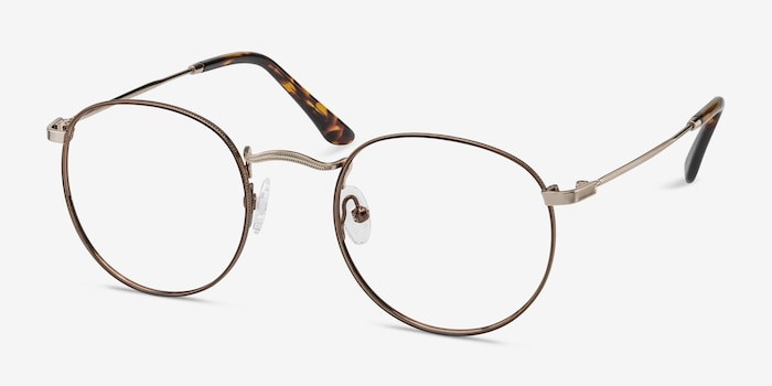 Daydream Brown/Golden Metal Eyeglass Frames from EyeBuyDirect, Angle View