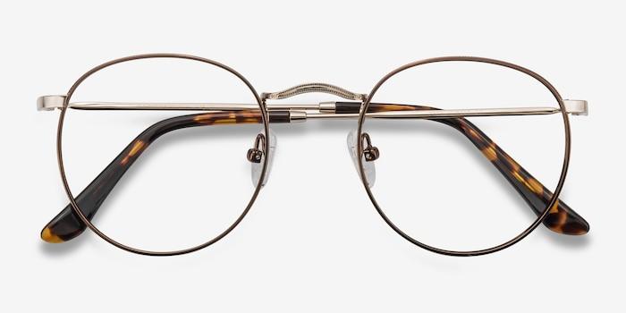 Daydream Brown/Golden Métal Montures de Lunettes d'EyeBuyDirect, Vue Rapprochée