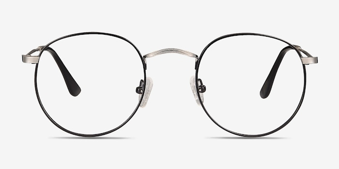 Daydream Black/Silver Metal Eyeglass Frames from EyeBuyDirect, Front View
