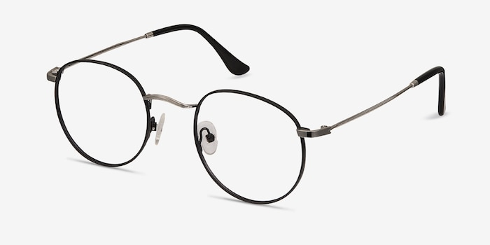 Daydream Black/Silver Metal Eyeglass Frames from EyeBuyDirect, Angle View