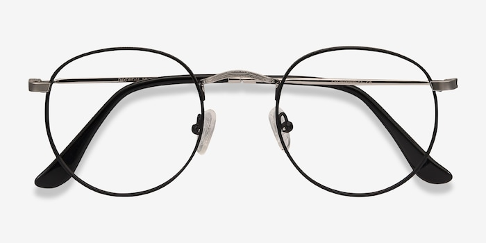 Daydream Black/Silver Metal Eyeglass Frames from EyeBuyDirect, Closed View