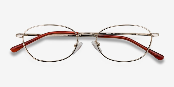 Prima Silver Metal Eyeglass Frames from EyeBuyDirect, Closed View