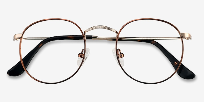 Daydream Brown Golden Metal Eyeglass Frames from EyeBuyDirect, Closed View