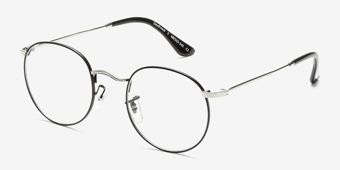 Daydream Black Silver Metal Eyeglass Frames from EyeBuyDirect, Angle View