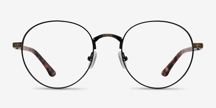 Fitzgerald Matte Black and Tortoise Metal Eyeglass Frames from EyeBuyDirect, Front View