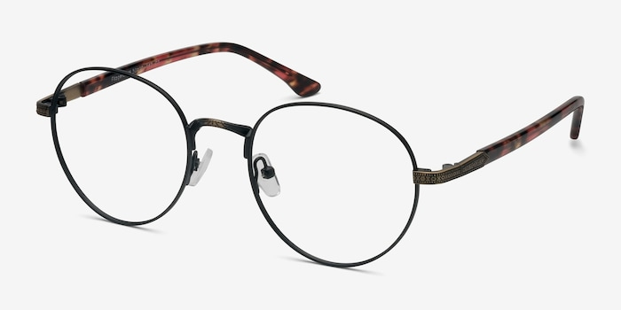 Fitzgerald Matte Black and Tortoise Metal Eyeglass Frames from EyeBuyDirect, Angle View