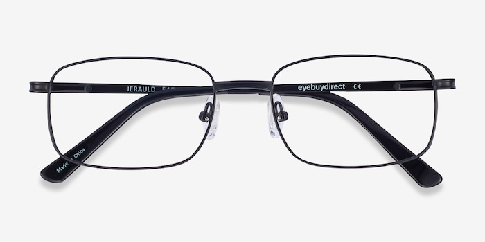 Jerauld Black Metal Eyeglass Frames from EyeBuyDirect, Closed View