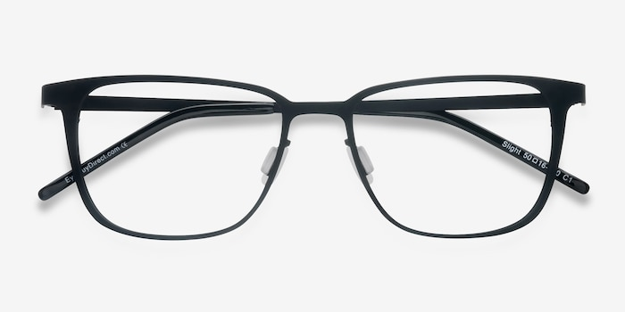 Slight Matte Black Metal Eyeglass Frames from EyeBuyDirect, Closed View
