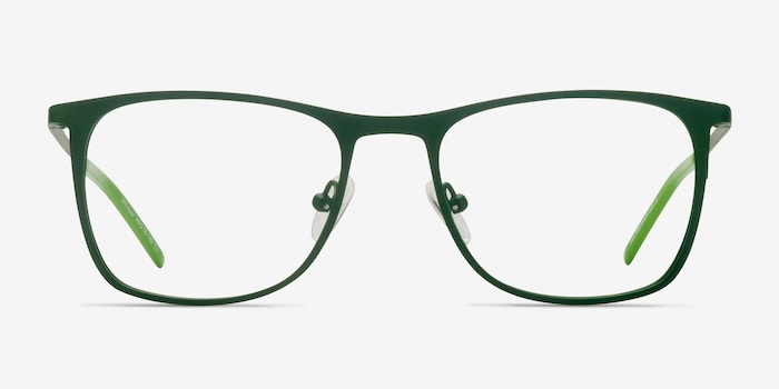 Whisper Matte Green Metal Eyeglass Frames from EyeBuyDirect, Front View