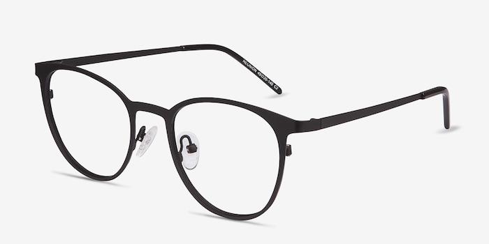 Reunion Matte Black Métal Montures de Lunettes d'EyeBuyDirect, Vue d'Angle