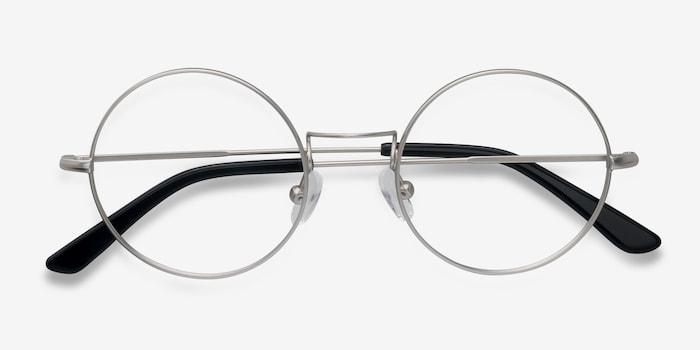 Someday Silver Metal Eyeglass Frames from EyeBuyDirect, Closed View