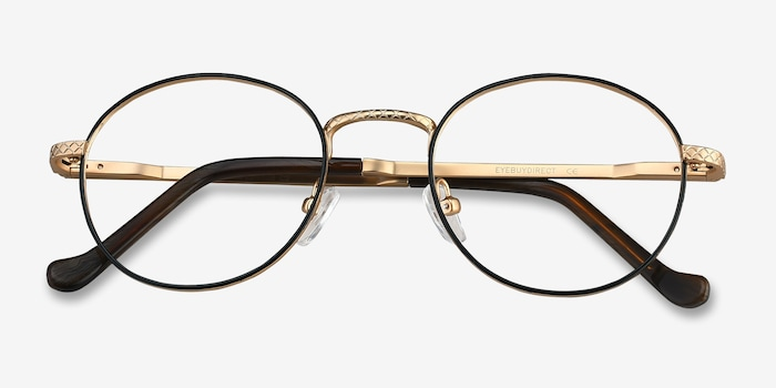 Mingus Black Golden Metal Eyeglass Frames from EyeBuyDirect, Closed View