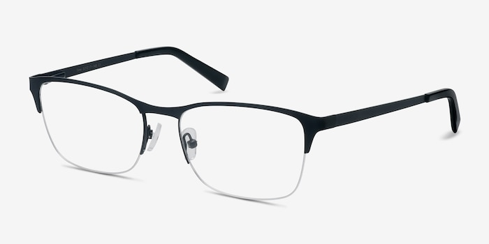 Time Navy Metal Eyeglass Frames from EyeBuyDirect, Angle View