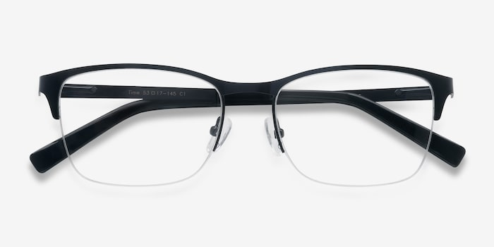 Time Navy Metal Eyeglass Frames from EyeBuyDirect, Closed View