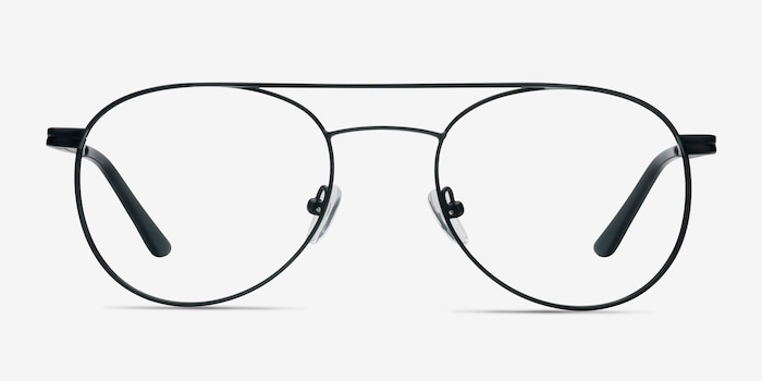 Alibi Black Metal Eyeglass Frames from EyeBuyDirect, Front View