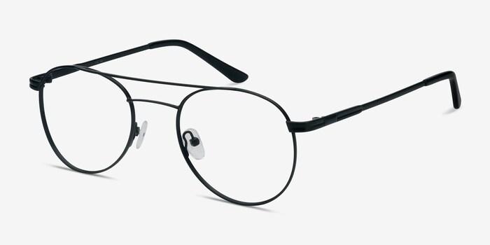 Alibi Black Metal Eyeglass Frames from EyeBuyDirect, Angle View