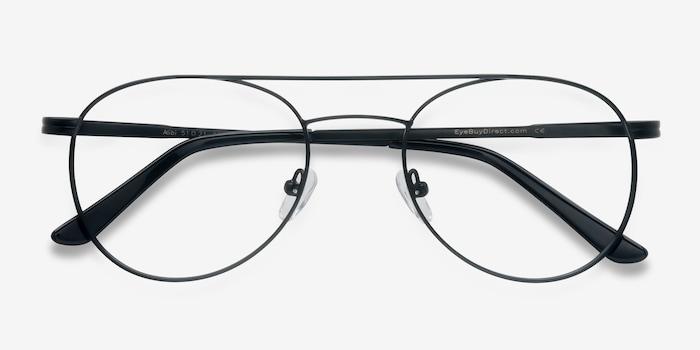 Alibi Black Metal Eyeglass Frames from EyeBuyDirect, Closed View