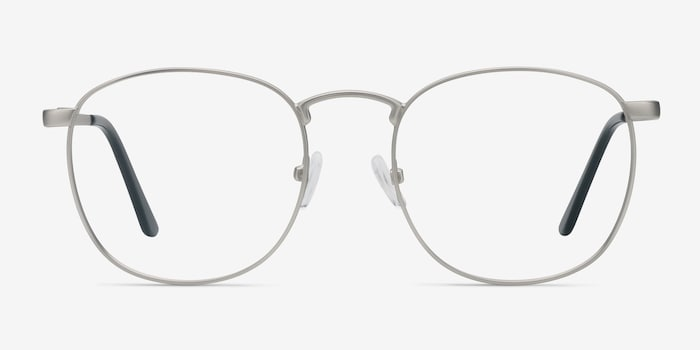 St Michel Silver Metal Eyeglass Frames from EyeBuyDirect, Front View