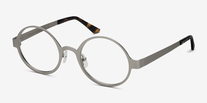 Afternoon Silver Metal Eyeglass Frames from EyeBuyDirect, Angle View