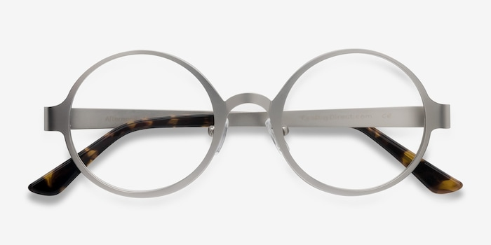 Afternoon Silver Metal Eyeglass Frames from EyeBuyDirect, Closed View