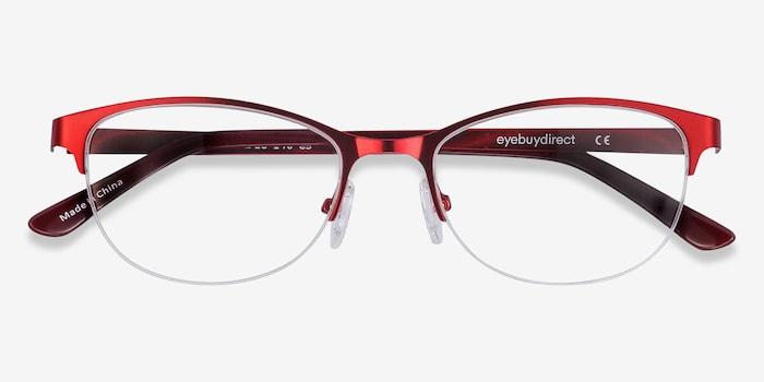 Melody  Red  Métal Montures de Lunettes d'EyeBuyDirect, Vue Rapprochée