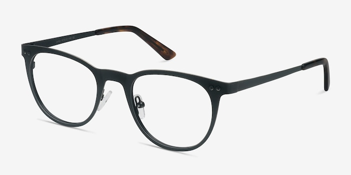 Lyrics Black Metal Eyeglass Frames from EyeBuyDirect, Angle View