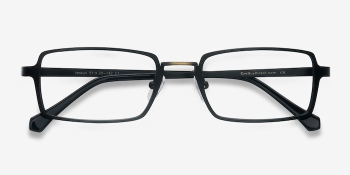 Venturi Black Metal Eyeglass Frames from EyeBuyDirect, Closed View