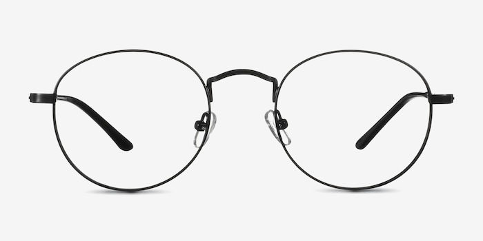 Cupertino Black Metal Eyeglass Frames from EyeBuyDirect, Front View