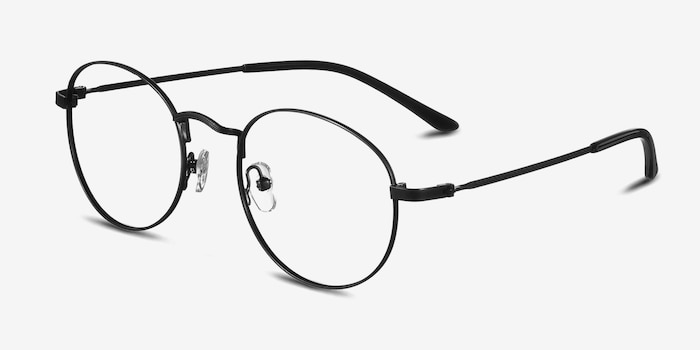 Cupertino Black Metal Eyeglass Frames from EyeBuyDirect, Angle View