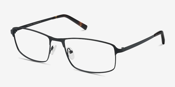 Capacious Black Metal Eyeglass Frames from EyeBuyDirect, Angle View