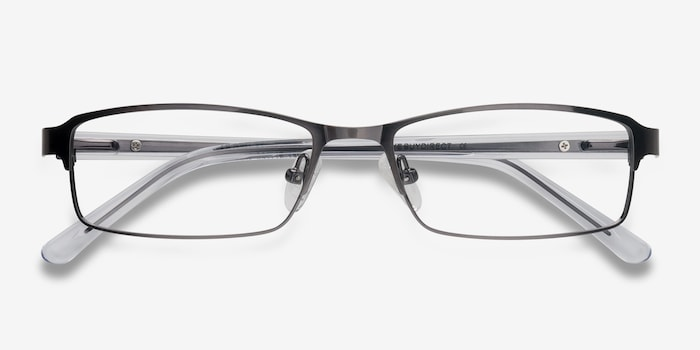 Olsen Gunmetal Metal Eyeglass Frames from EyeBuyDirect, Closed View
