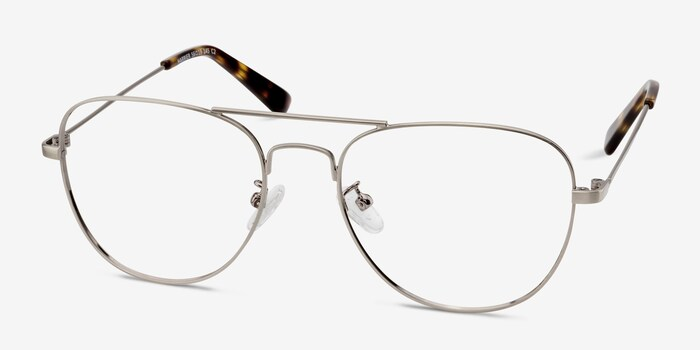 Harrier Gunmetal Metal Eyeglass Frames from EyeBuyDirect, Angle View