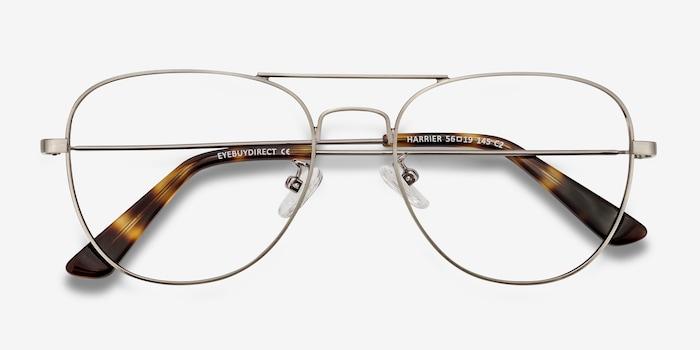 Harrier Gunmetal Metal Eyeglass Frames from EyeBuyDirect, Closed View