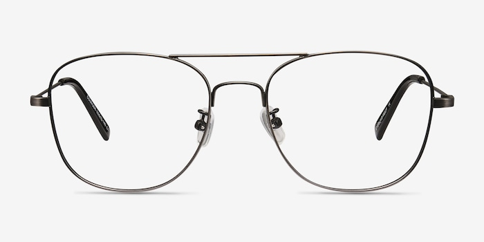 Courser Gunmetal Metal Eyeglass Frames from EyeBuyDirect, Front View