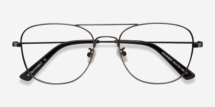 Courser Gunmetal Metal Eyeglass Frames from EyeBuyDirect, Closed View