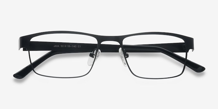 Java Black Metal Eyeglass Frames from EyeBuyDirect, Closed View