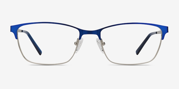 Cascade Blue Metal Eyeglass Frames from EyeBuyDirect, Front View