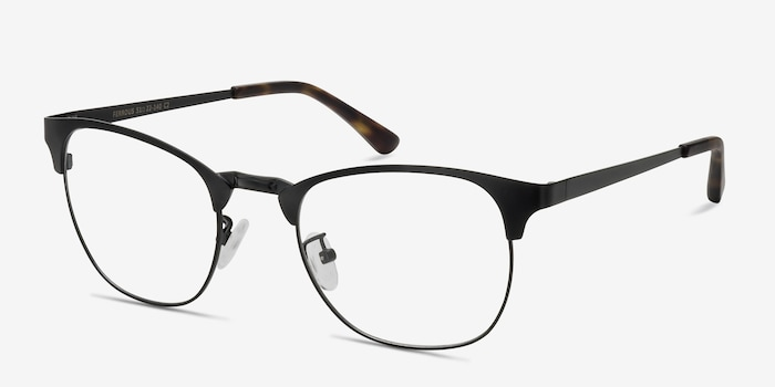 Ferrous Black Metal Eyeglass Frames from EyeBuyDirect, Angle View
