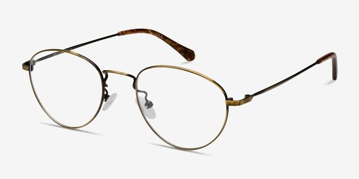 Taipei Bronze Metal Eyeglass Frames from EyeBuyDirect, Angle View