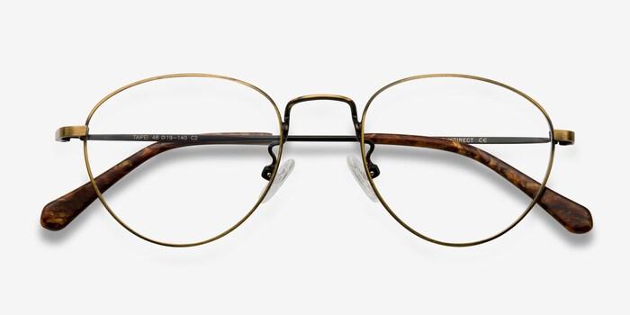 Taipei Bronze Metal Eyeglass Frames from EyeBuyDirect, Closed View
