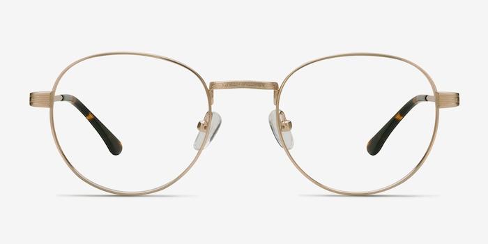 Belleville Golden Metal Eyeglass Frames from EyeBuyDirect, Front View