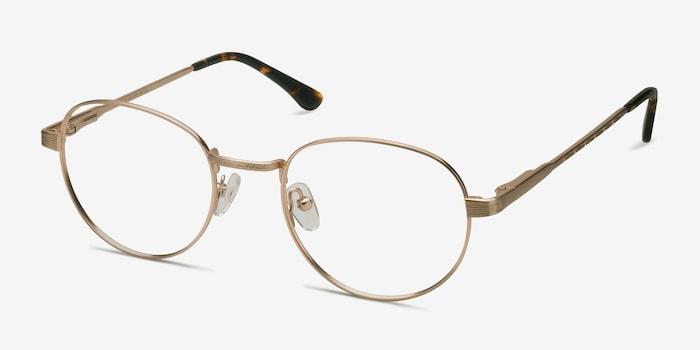 Belleville Golden Metal Eyeglass Frames from EyeBuyDirect, Angle View