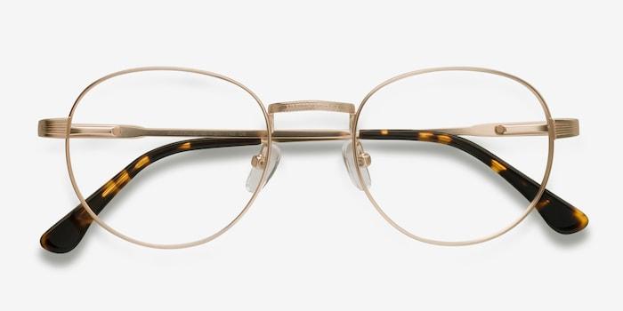 Belleville Golden Metal Eyeglass Frames from EyeBuyDirect, Closed View