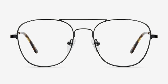 Captain Black Metal Eyeglass Frames from EyeBuyDirect, Front View