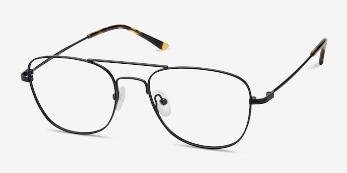 Captain Black Metal Eyeglass Frames from EyeBuyDirect, Angle View