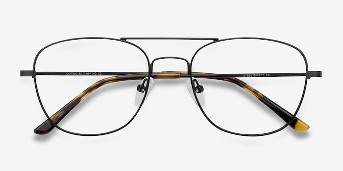 Captain Black Metal Eyeglass Frames from EyeBuyDirect, Closed View