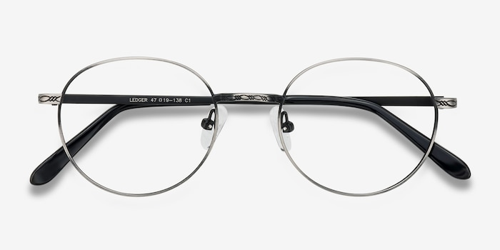 Ledger Gray Metal Eyeglass Frames from EyeBuyDirect, Closed View