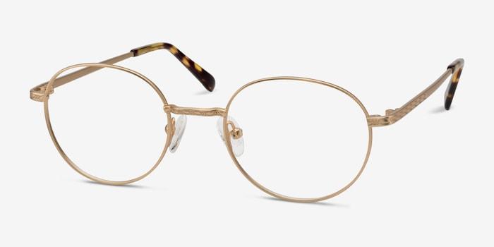 Ledger Golden Metal Eyeglass Frames from EyeBuyDirect, Angle View